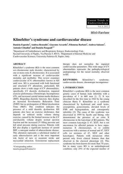 (PDF) Klinefelter's syndrome and cardiovascular disease