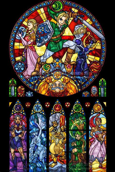 Full Size Zelda: Ocarina of Time - Stained Glass Transparency Print   ファン
